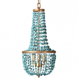 Coastal Beach Style Vintage Golden Color Finish Turquoise Beads Metal Chandelier
