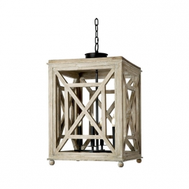 Regina Andrew Wood Lattice Lantern Chandelier