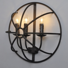 Wrought Iron Cage Hemisphere Wall Lamp