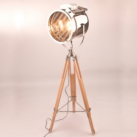 Master Sealight Industrial Wood Floor Lamp