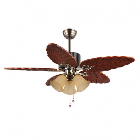 Southeast Asia Country Style Led Lights Ceiling Wood Leaf Shape Fan 48 Lamp Lighting Free Shipping