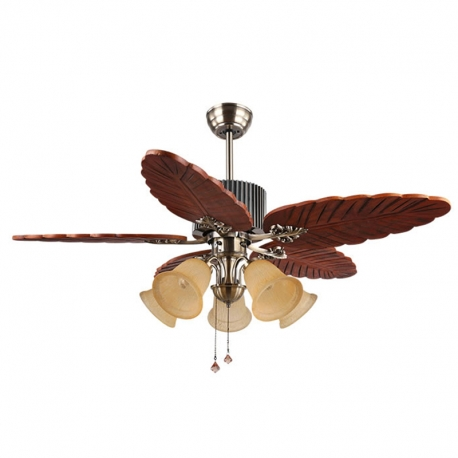 48 5 Lights Wood Leaf Ceiling Fan Lamp