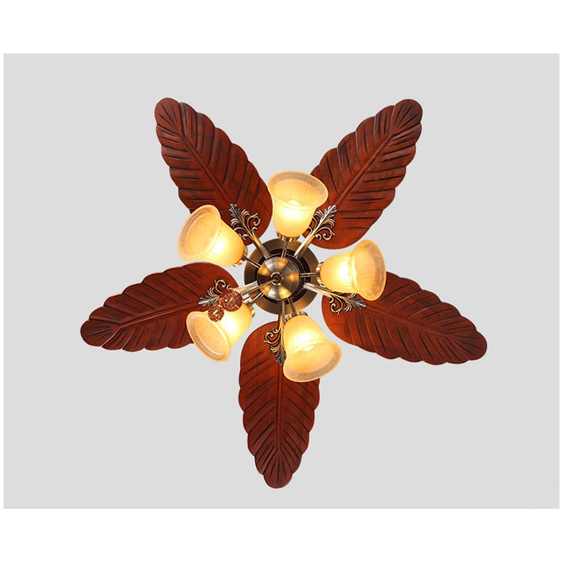 48 5 Lights Wood Leaf Ceiling Fan Lamp